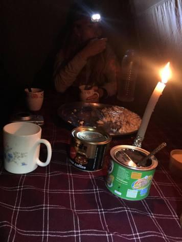 Poppkorn og kakao fikk vi før lunsj når vi kom i campen